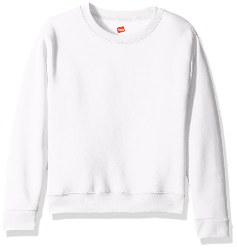 Hanes Girls' Big Girls' Comfortsoft Ecosmart Fleece Sweatshirt, White, S Blue Youth Fleece Crewneck Sweatshirt