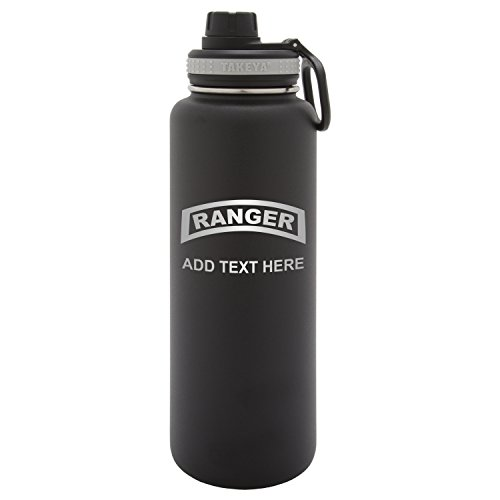 (Personalized Custom US Army Military RangerLaser Engraving Takeya Thermoflask Leak Proof Insulated Stainless Steel Workout Sports Water Bottle Tumbler, 40 Oz, Black )