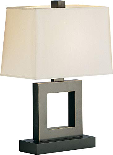Robert Abbey 102X Lamps with Rectangular Snowflake Fabric Shades, Ebony Finish