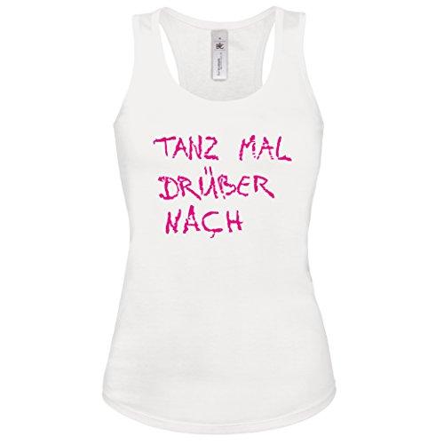 Shirt-Checker - Camiseta sin mangas - para mujer Weiss-Neonpink