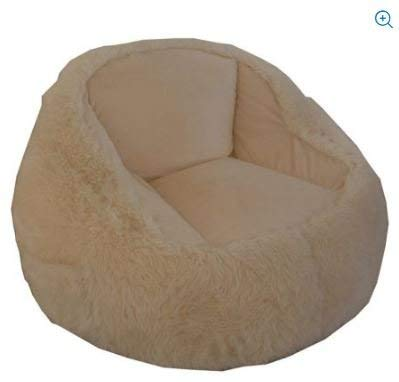 Faux Fur Structured Tablet Bean Bag Chair With A Sewn-in side Pocket Cream