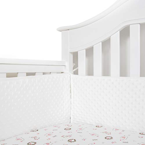 TILLYOU Baby Safe Minky Dot Crib Bumper Pads for Standard Cribs Machine Washable Padded Crib Liner Thick Padding for Nursery Bed 100% Silky Soft Microfiber Polyester Protector de Cuna, 4 - Minky Crib Dot Bedding
