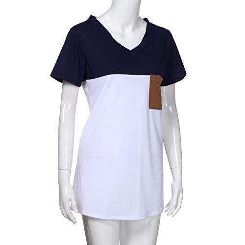 Chemise Spcial Jeune Cou V Mode Elgante T Branch Avant Tshirts Courtes Manches Style Shirts Mlanges Casual Top Poches Haut Couleurs Mode Blusen Marine Femme Et wORtqPR