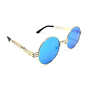 XL Oversized Round Classic Luxury Steampunk Sunglasses (Gold Metallic Frame, Blue Iridium Mirror)
