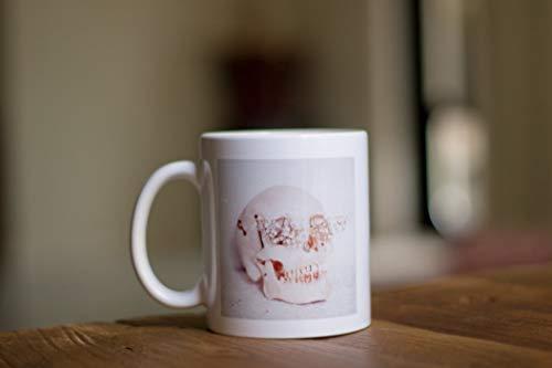 Tee Funny Ceramic Skull Mug, Coffee Cup, Kawaii Mug, White Mug, Halloween Mug, Pastel, Christmas Gifts, Cute Gift Ideas, Skull Tumblr. 11 oz for $<!---->