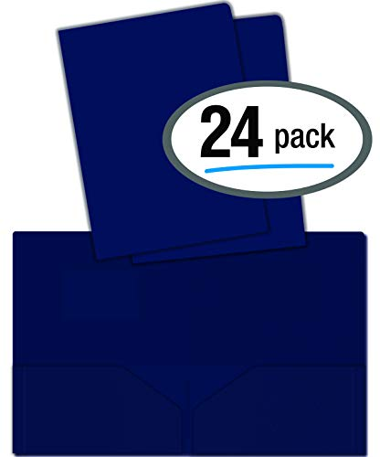 Poly Two Pocket Folders - Heavyweight Plastic 2 Pocket Portfolio Folder, Letter Size Poly Folders by Better Office Products, 24 Pack (Navy Blue)
