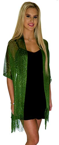 Shawls and Wraps for Evening Dresses, Wedding Shawl Wrap Fringes Scarf for Women Dark Green Petal Rose