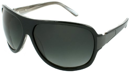 Black Oversized Fashion Designer Sunglasses (Edge I-Wear Handmade Retro Wraped Flat-Top Aviators Sunglasses HM206-167)