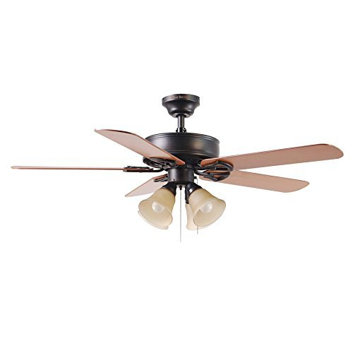 Harbor Breeze Springfield II 52-in Antique Bronze Downrod or Flush Mount Ceiling Fan with Light Kit