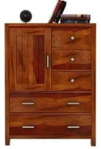 Shilpi Handmade Sheesham Wooden Chest of Drawers Multipurpose Storage Cabinet in Brown Finish