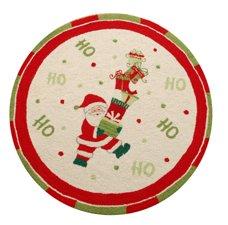 - 3 Feet Round Hooked Rug, Ho, Ho, Ho Santa, Christmas