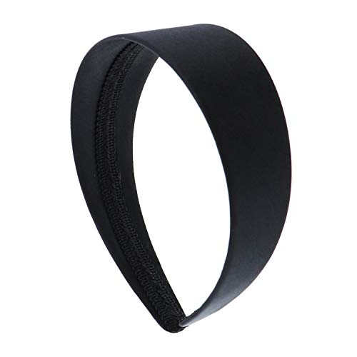 Black 2 Inch Wide Satin Hard Headband with No Teeth Head band for Women and Girls (Motique Accessories)]()