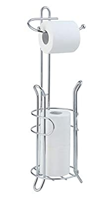 SunnyPoint Bathroom Toilet Tissue Paper Roll Storage Holder Stand with Reserve, The Reserve Area Has Enough Space To Store Mega Rolls; Chrome Finish (Chrome)