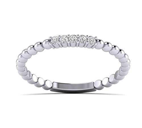 Fehu Jewel Natural Diamond Ring in 10k White Gold For Women
