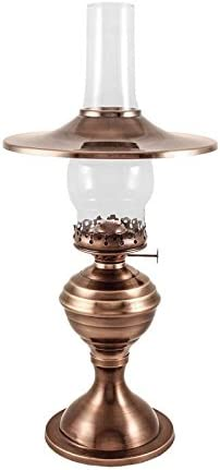 Vermont Lanterns Brass Equinox Hurricane Oil Lamp – 19 Antique with Shade