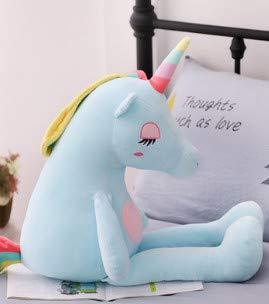 Peluche LOPLP Simpatico Peluche a Forma di Bambola Unicorno Super Morbido Letto Cuscino per Bambola Bambola per Dormire Bambola Ragazza Nuova Luce Blu 60 cm