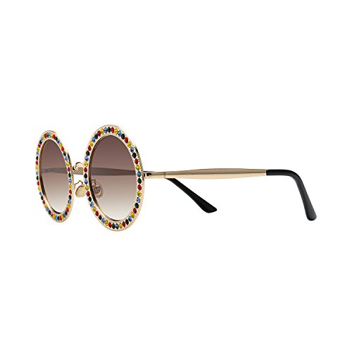 ROYAL GIRL Round Sunglasses Women Oversized Metal Frame With Crystal Fashion Shades Multicolor - Crystal Oversized