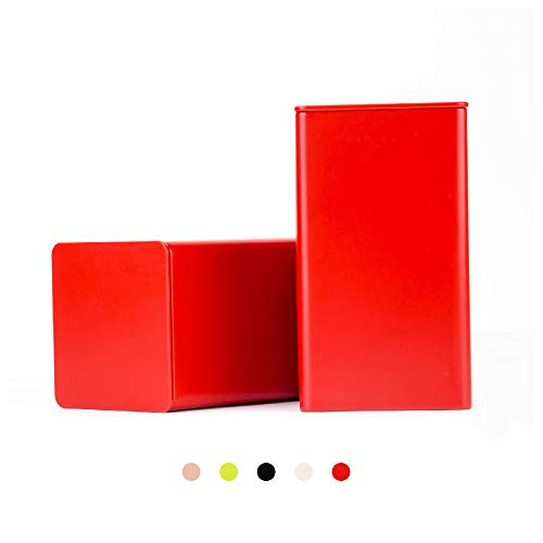 Tianhui Colorful Square Tin Can Empty Cube Steel Box Storage Container for Treats, Gifts, Favors, Loose Tea, Coffee and Crafts,Mini Portable small storage Kit,Home Storage. (Red, 2-Large)