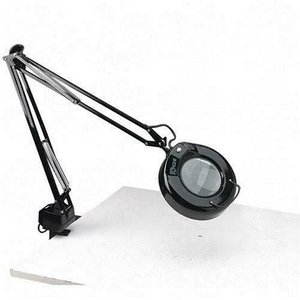 Ledu Products - Ledu - Clamp-On Fluorescent Swing Arm Magnifier Lamp w/5'' Lens, 42'' Reach, Black - Sold As 1 Each - 5'' diameter three-diopter lens enlarges 175%. - Three-prong convenience outlet in clamp-mount base. - Handle on shade for positioning lens.