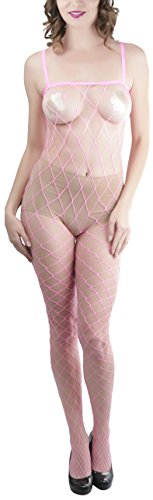 Lycra Fence Net Stockings - ToBeInStyle Women's Fence Net Spaghetti Strap Spandex Bodystocking Color: N Pink, One Size
