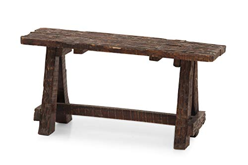 The Urban Port Antique Colonial Customary Bench with Retro Etching (Colonial Bench Garden)