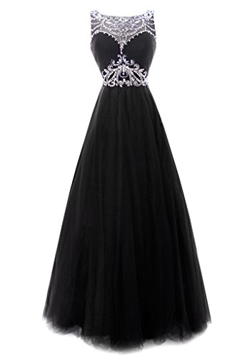 Fiesta Formals Princess Ball Gown Prom Dress Illusion Neckline Black S