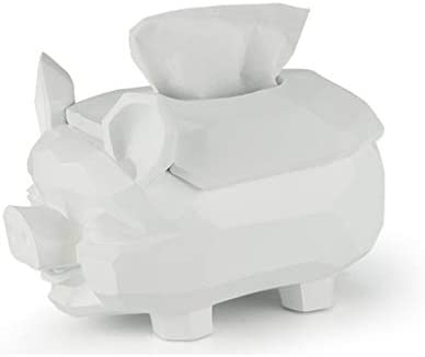 GYCOZ Tissue Box einfache Nette Schwein-Form Tissue Box Desktop Dekoration Ornaments Haushaltswannen Vier Farben erhältlich Tissue Box Cover Gesicht (Color : White)