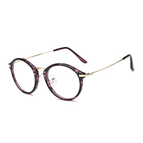 Mode Homme Motif résine métal Rétro Léopard Lunettes Violet Aiweijia Round myopie Femme lunettes Frame cadre lentilles YZwRI