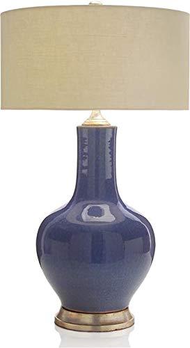 John Richard Table Lamp Lapis Delight Silver Accents Blue Crackle Glaze ()