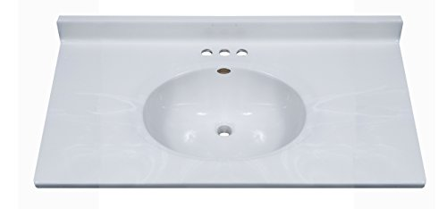 Imperial FC3722W Classic Center Oval Bowl Bathroom Vanity Top, White on White Gloss Finish, 37-Inch Wide by 22-Inch Deep