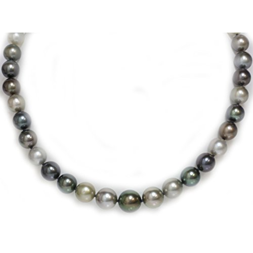 Tahitian South Sea Pearl Necklace 13 - 10 mm Multicolor 14K Solid Gold Clasp - Chocolate Tahitian Pearl Necklace