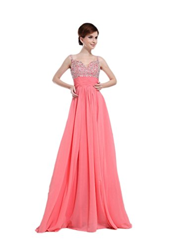 VogueZone009 Womens Spaghetti Straps Formal Dresses with Straps Sewn Beads, Pink, 16 by VogueZone009