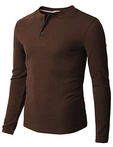 H2H Mens Casual Henley Long Sleeve Waffle Cotton T-Shirts Brown US M/Asia L -