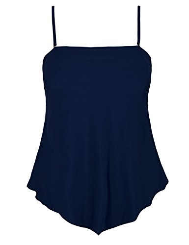 Bandeau Hem (coastal rose Women's Swimsuit Irregular Hem Tankini Top Solid Flowy Swimming Top US 14 Navy)