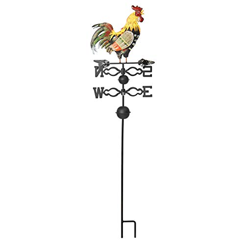 (Tanchen 51.18in Height Iron Rooster Weathervane Roof Mount Weather Vane Wind Garden Decorations )