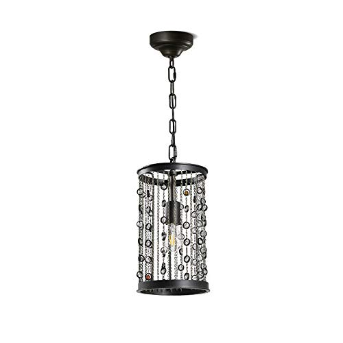 American Country Chandelier, Creative Retro Crystal Tassel E27 Metal Ceiling Pendant Light, Personalized Gem Wrought Iron Decorative Lighting for Living Room Dining Room Bedroom Hotel