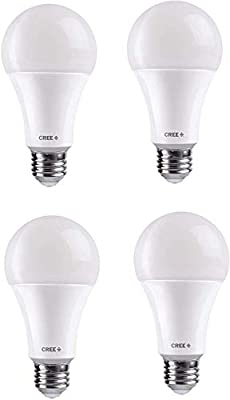 Cree Lighting A19-60W-B1-27K-E26-U4 LED Dimmable Lamp (4-Pack), 4 Pack, White