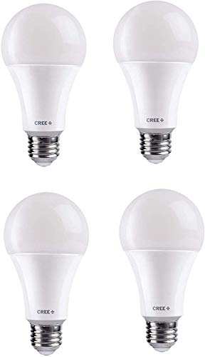 Cree Lighting A19-60W-B1-27K-E26-U4 Basic A19 60W Equivalent LED Bulb (Dimmable) 800, lumens, Soft White 2700K, 4 Pack