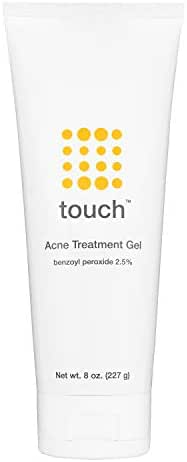 Touch Benzoyl Peroxide 2.5% Acne Treatment Gel Cream - Pimples and Cystic Acne Spot Treatment & Daily Face and Back Medication for Adults & Teens – Goes on Clear Lightweight & Non-Drying - Large 8 oz.
