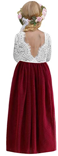 2Bunnies Girl Peony Lace Back A-Line Straight Tutu Tulle Party Flower Girl Dresses (Wine Red Maxi, 4T) -