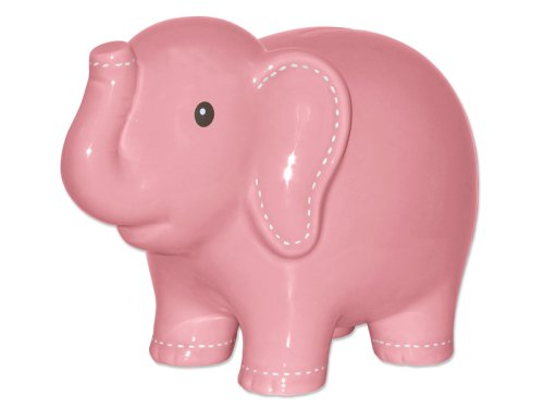 Child to Cherish Large Stitched Elephant Bank, Pink
