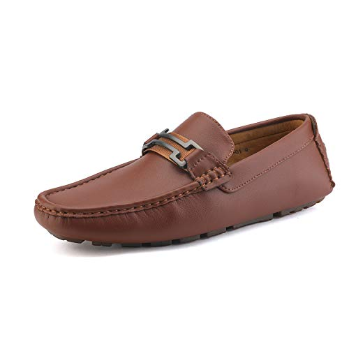 Bruno Marc New York Men's Hugh-01 Brown Faux Leather Driving Penny Loafers Boat Shoes - 7 M US
