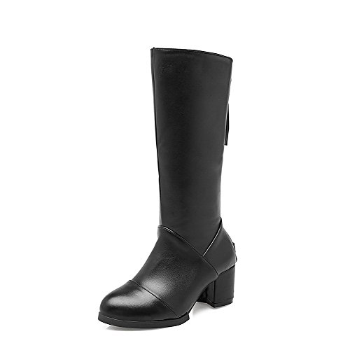 Allhqfashion Women's High-top Solid Zipper Round Closed Toe Kitten-Heels Boots Black