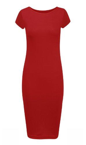 Jersey Manche Basique Mi Longue Courte Femme Moulante Taille Grande Robe Rouge F0S18YAqn