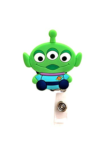 Swivels - Cartoon Retractable Badge Reel - Holder for ID and Name Tag with Alligator Clip (Toy Story Alien)