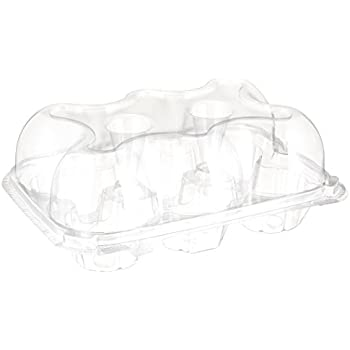 Oasis Supply 6-Compartment Hinged High Dome Clear Cupcake Container, Clear, 12-Pack