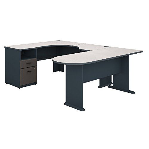 (Bush Business Furniture Series A U Shaped Corner Desk with Peninsula and Storage - White Spectrum/Slate 71W X 92D X 30H ERGONOMICHOME BUSH BUSINESS FURNITURE Scroll Down for Product Description)