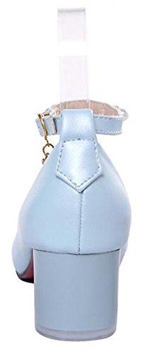 Easemax Damesmode Strappy Puntige Neus Pumps Schoenen Met Hanger Blauw