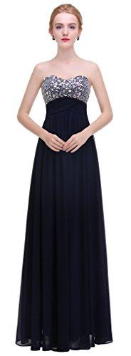 Line A Bislu Bridesmaid Long Navy Dress Sweetheart Prom Beaded Gown Evening Chiffon Bfwxq1O