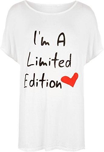 Wearall Donna White Di donna Slogan Top A 44 Cuore 4 54 T Grande stampa Misure shirt Forma Colori UUxrqT5Sn